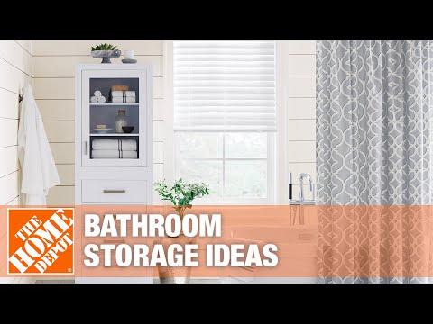 A video reviews different bathroom storage ideas.