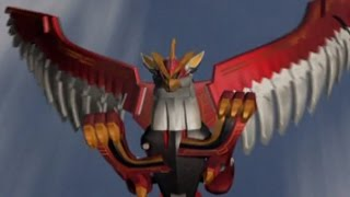 Power Rangers Wild Force - Falcon Zord and Isis Megazord First Scene (Wings of Animaria Episode)