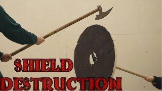 getlinkyoutube.com-Plywood shield vs broadsword, katana, axe, kriegsmesser, and war hammer