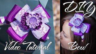 getlinkyoutube.com-Фиолетовый Бант Канзаши / DIY Bow / Бантик из ленты мастер класс