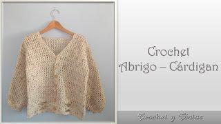 getlinkyoutube.com-Abrigo – Cárdigan en punto cruzado para mujer tejido a crochet - ganchillo - Parte 1