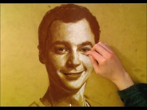 SHELDON - Big Bang Theory PORTRAIT! Pastel on wood