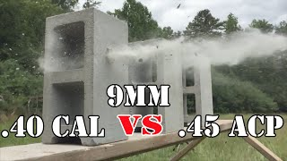 getlinkyoutube.com-9mm vs .40 Cal vs .45 ACP... Cinder Block Test