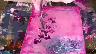 getlinkyoutube.com-Acrylmalerei, Blüten mit Löffel malen, painting flowers with a spoon...