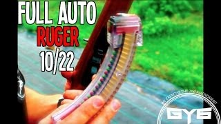 getlinkyoutube.com-FULLY AUTOMATIC 22 Rifle- Ruger 10/22 (with Red/Green Tracers)
