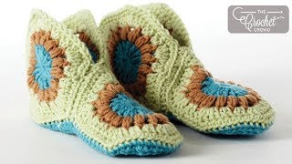How to Crochet Slippers: Granny Slippers