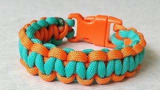 getlinkyoutube.com-How to make Cobra Weave (Solomon Bar)two color paracord bracelet