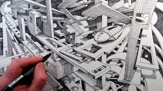 getlinkyoutube.com-How to Draw a Sci-Fi Fantasy City in 2-Point Perspective