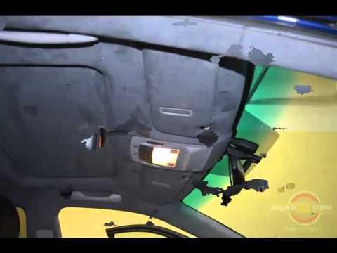 Перетяжка потолка Алькантарой на Lexus RX 350