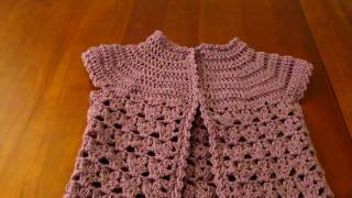 getlinkyoutube.com-Crochet girls short sleeve cardigan coverup sweater