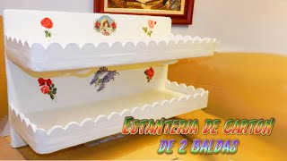 getlinkyoutube.com-manualidades estanteria de 2 baldas hecha de carton DIY - Santiago y sus Ideas