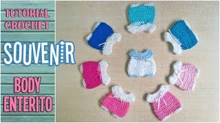 getlinkyoutube.com-Souvenir a crochet para baby shower enterito, body bebé, paso a paso