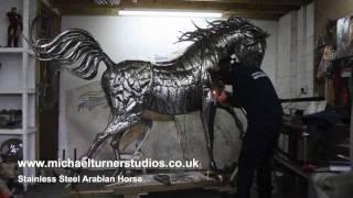 getlinkyoutube.com-Sculpture - Stainless Steel Arabian Horse