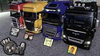getlinkyoutube.com-Euro Truck Simulator 2 - Multiplayer - RaaVaz feat. Rafa, Leo, José e Gandi - Com Logitech G27