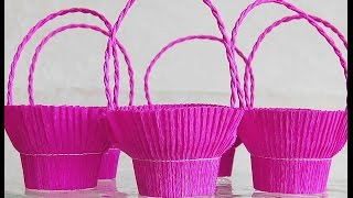 getlinkyoutube.com-Easy basket for sweets (crepe paper and recycle plastic glass). Great ideas for Valentine's day