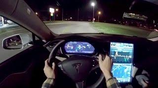 getlinkyoutube.com-2015 Tesla Model S 85D - WR TV POV Night Drive