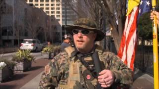 Three Percenter Militia rally outside CNN offices, February 6, 2016