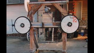 getlinkyoutube.com-Homemade Wood Bandsaw mill walk around