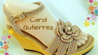 getlinkyoutube.com-Sandalias tejidas en Crochet  D'  Carol