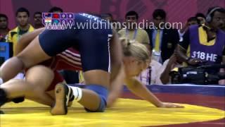 getlinkyoutube.com-Women's 55kg freestyle wrestling : Commonwealth Games Delhi 2010