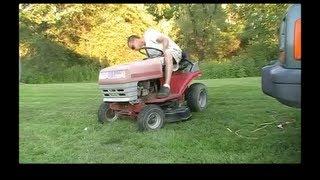 getlinkyoutube.com-Riding Lawn Mower Deck Swap