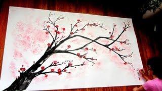 getlinkyoutube.com-Cherry Blossom Branch Speed Painting