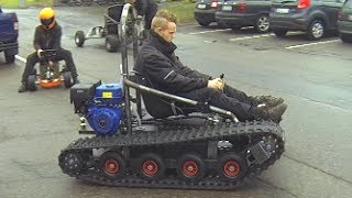 Home made tracked vehicle (asphalt and gras +hill)