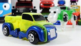 getlinkyoutube.com-터닝메카드? 개 변신 트럭 자동차 태엽 장난감 놀이 2탄 타요 캐리어 [대문밖장난감]