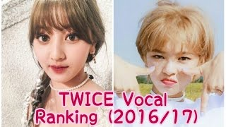 TWICE Vocal Ranking (2016/2017)