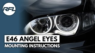 getlinkyoutube.com-BMW 3 serie E46 Led Angel dimmable eyes mounting instructions