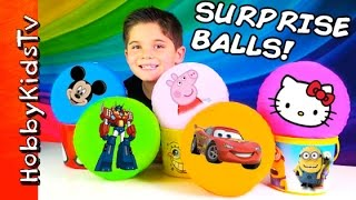 getlinkyoutube.com-Surprise BALLS! Toy Eggs, Blind Boxes: Minecraft + Funko Toy Story HobbyKidsTV