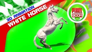 getlinkyoutube.com-Green Screen White Horse Runs Prairie Animals - Footage PixelBoom CG
