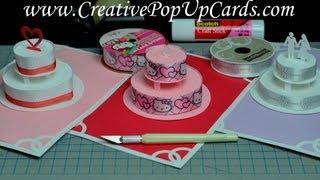 getlinkyoutube.com-How to make a Birthday Cake or Wedding Cake Pop Up Card Tutorial: Part 1