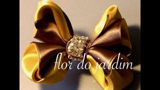 getlinkyoutube.com-Lindo laço de fitas,dupla cores Passo a Passo -satin ribbon bow
