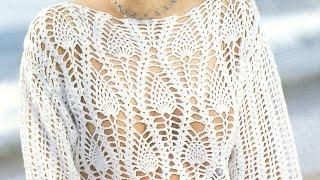 getlinkyoutube.com-Suéter Calado puntada piñas a crochet