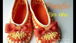 getlinkyoutube.com-Como hacer pantuflas a crochet para niñas de 3 a 4 años