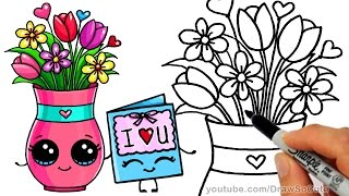 getlinkyoutube.com-How to Draw a Vase with Flowers and Cute Card step by step Sweet Gift