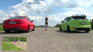 getlinkyoutube.com-Ford Focus RS vs Audi A5 3,0 TDI  drag, sprint