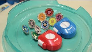 getlinkyoutube.com-9 Miniature Beyblade SET! - TAKARA TOMY ARTS- AWESOME BEYBLADING FUN