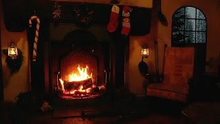 getlinkyoutube.com-Christmas Scene: Burning Yule Log with Crackling Fire and Snow Storm Sounds