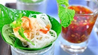 getlinkyoutube.com-เมี่ยงหมี่ซีฟู้ด Rice Noodle and Seafood Wrapped in Betel Leave