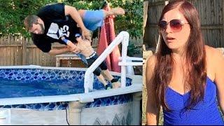getlinkyoutube.com-NEIGHBOR RAGES AT FAT MAN TRESPASSING IN HER POOL WRESTLING WWE TOYS!