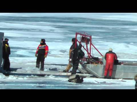 Ice fishing safety video, stay safe on the water - lake ice recovery extracting fishing rig