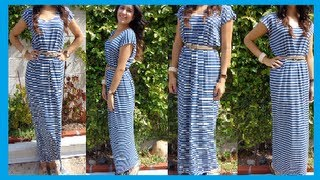 getlinkyoutube.com-Fashion DIY How to make Easy Maxi Dress/ long Dress DamaV425