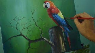 getlinkyoutube.com-Acrylic Painting Lesson - The Parrot by JM Lisondra