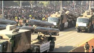 BrahMos missile launchers displayed during Republic Day parade at Rajpath, New Delhi