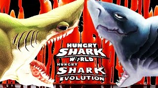 getlinkyoutube.com-Hungry Shark Evolution vs World  - Megalodon vs Megalodon