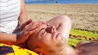 getlinkyoutube.com-Italian Girl soft and relaxing Head and Face Massage on the beach - ASMR video