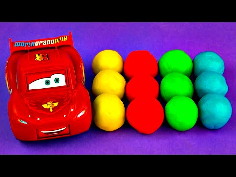 Play-Doh Squinkies Surprise Eggs Cars 2 Lightning McQueen Minnie Mouse Daisy Duck Smurfs FluffyJet