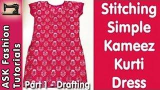 getlinkyoutube.com-Simple Kameez Kurti Dress Stitching - Part 1 - Cloth Cutting (Drafting) - In Hindi